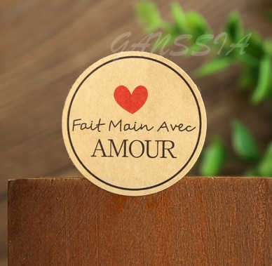 100pcs/lot Dia:3.8cm Fait main avec Amour Round Seal sticker paper adhesive stickers for homemade bakery&gift  (ss-1143)