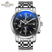 SOLLEN Automatic Mechanical Watches Business Man Watch Luminous Hands Waterproof Moon Phase Week Display Watch 803
