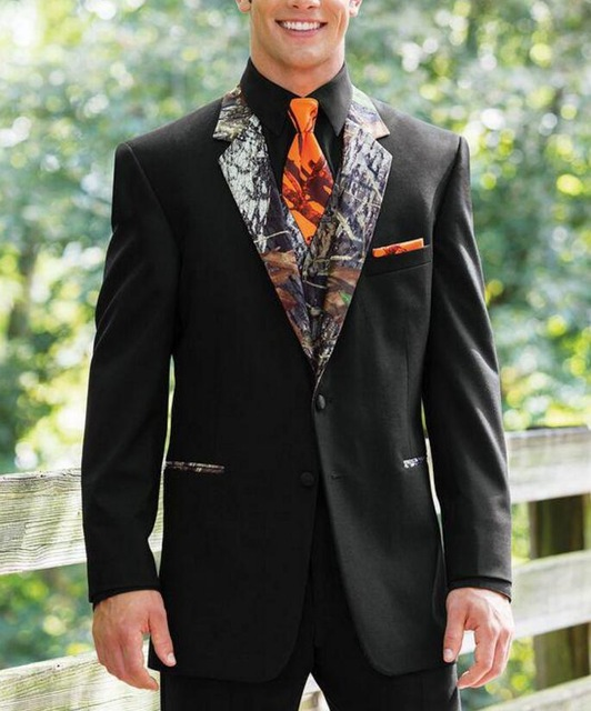 New Camouflage Tuxedos Unique Single Breasted Camo Mens Wedding Suits Notched Lapel Groom Wear Prom Suits For Men ( Jacket+Pant