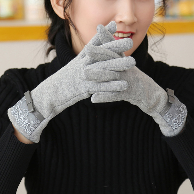 Fashion Female Cotton Touch Screen Lace Wrist Gloves Winter Women Warp-Knitted Velvet Plus Plush Warm Full Finger Gloves B73