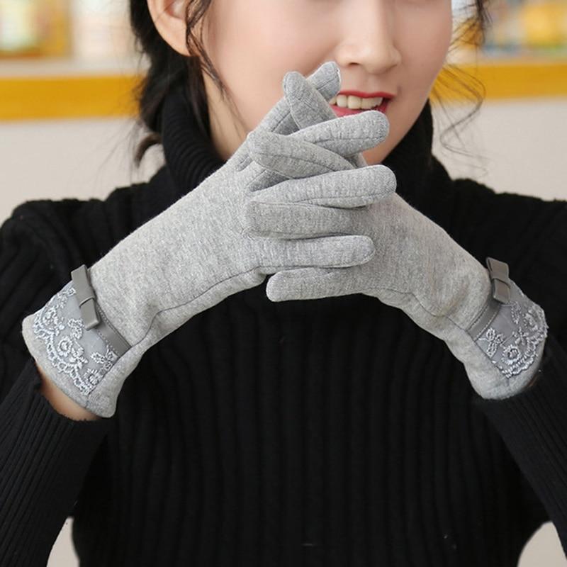 Fashion Female Cotton Touch Screen Lace Wrist Gloves Winter Women Warp-Knitted Velvet Plus Plush Warm Full Finger Gloves B73