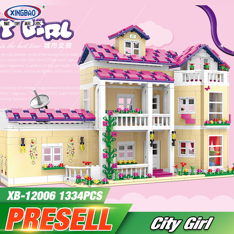 XINGBAO 12006 Kid Toys 1334Pcs Girl Series The Happy Dormitory Set Building Blocks Bricks Educational Funny Girls Toys New Gifts little white dragon assembling toys educational toys girl fantasy girls beach villa 423