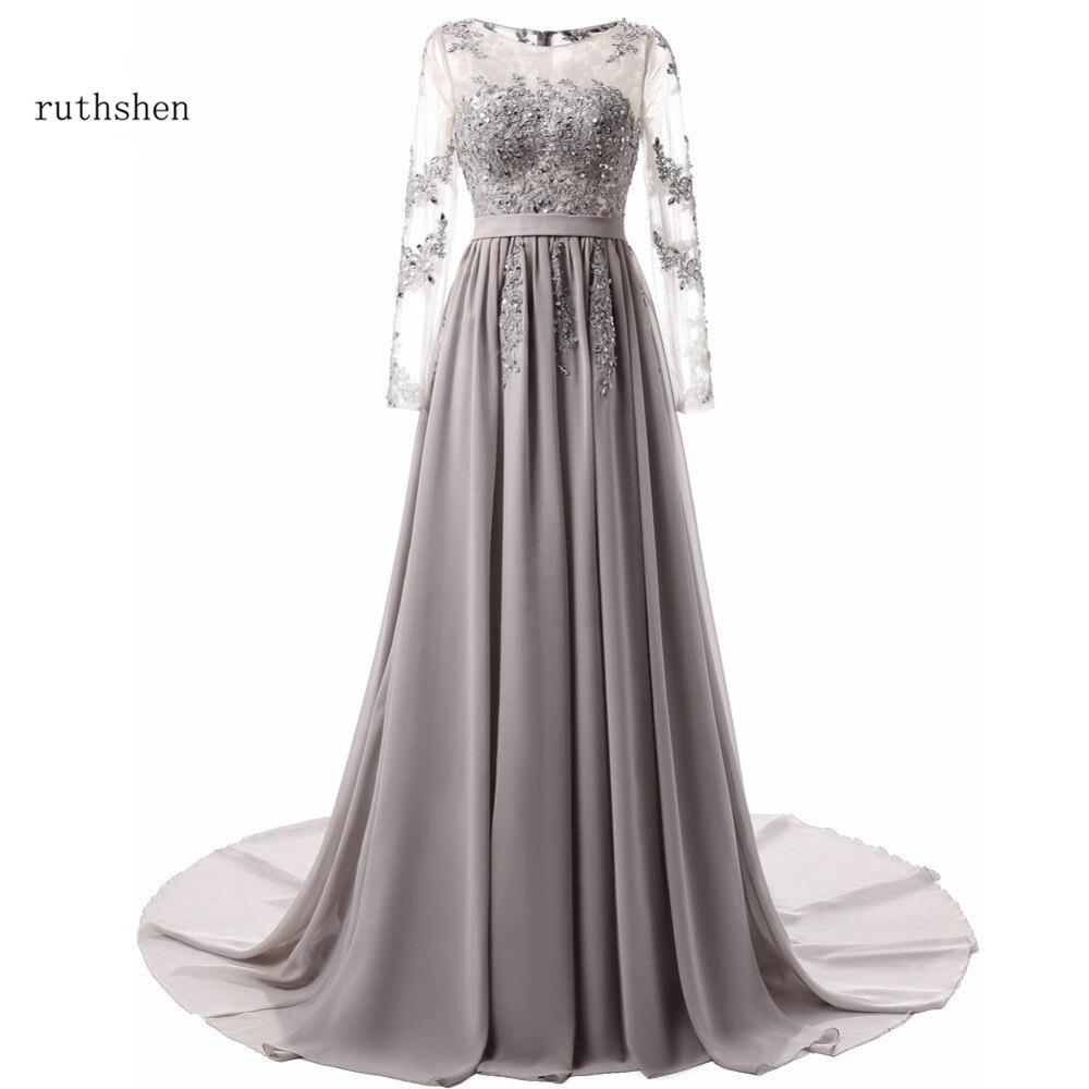 ruthshen Long Sleeves Evening Dresses Elegant Prom Gown Sexy Royal Blue Gray Chiffon A Line Vestidos