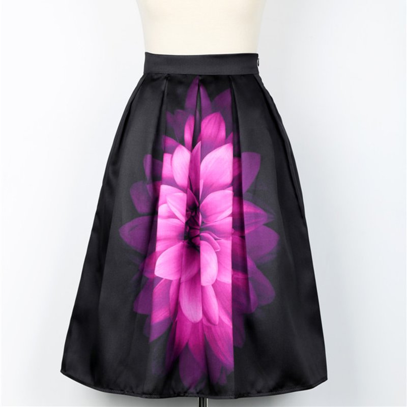 2017 Spring Autumn Audrey Hepburn Vintage Retro Fantasy Purple Flower Floral Print High Waist Pleated Midi Skirt Black Saias