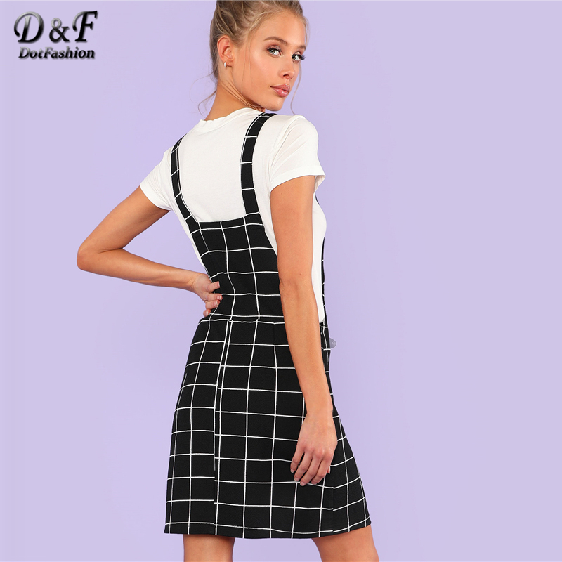 ceef2f5c0be3 Dotfashion Bib Pocket Front Grid Pinafore Dress 2019 Summer Sleeveless  Preppy Dress Women Black Straps Short Straight Dress-in Dresses from Women s  Clothing ...