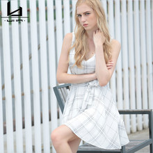 Hui Lin White Sleeveless V Neck Summer font b Tartan b font Pattern Women Dress New