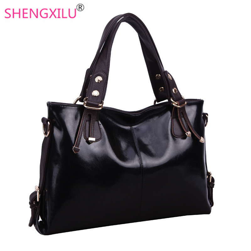 Shengxilu genuine leather women shoulder bag ladies big casual shopping handbags brand girls party totes vintage black women bag qiaobao 100% sheepskin bag leather handbags knit big ladies hand bags girls soft genuine leather shoulder bag lady totes