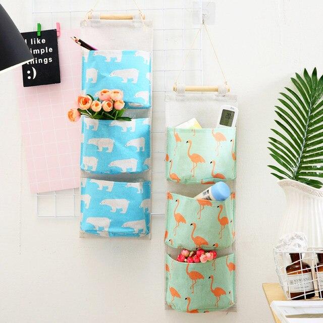 a73054ae7c Online Shop Flamingo Pattern Cotton Linen Hanging Storage Bag 3 ...