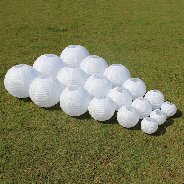 10 Piece 6-8-10-12-14-16 Inch Festival Supplies White Chinese Paper Lanterns For Party and Wedding Decoration Hanging Paper Ball