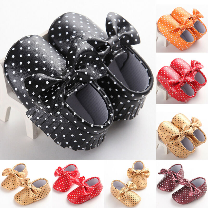 Newborn Polka Dot First Walker Bowknot Shoes Infant Baby Girl Princess Tassel Crib Shoes Soft Sole Pram Antislip Prewalker
