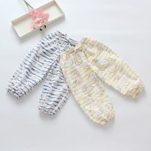 New Fashion Girls Casual stripe Pants Summer Children Girl Cotton Linen watermelon Printed Pant Child Trousers Kids Bloomers