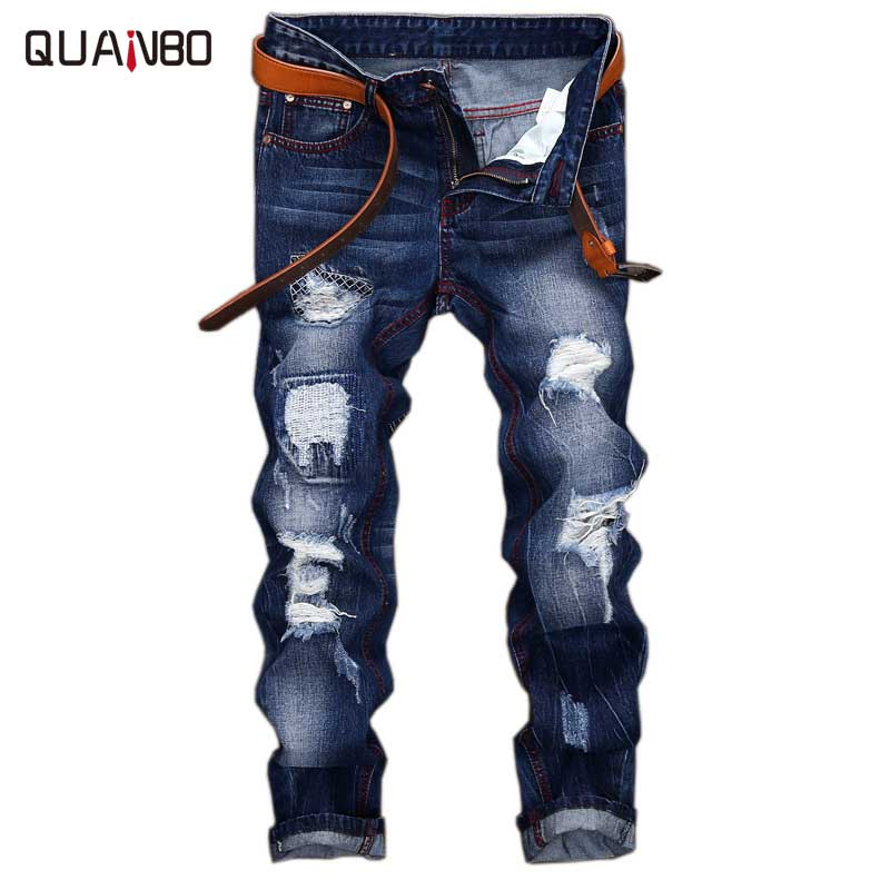 2018 Men   Jeans   Design Fashion Biker Hole   Jeans   Slim straight Ripped   Jeans   Blue Brand Casual Mens TrousersPius size 28-42