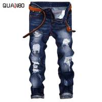 2019 Men Jeans Design Fashion Biker Hole Jeans Slim straight Ripped Jeans Blue Brand Casual Mens TrousersPius size 28 42