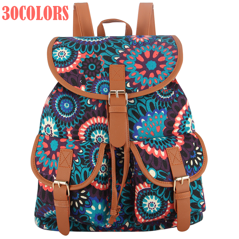 Sansarya 30 Colors Female Vintage Rucksack Printing Canvas Women Backpack Bohemian Grils School Bag Sac a Dos Drawstring Bag