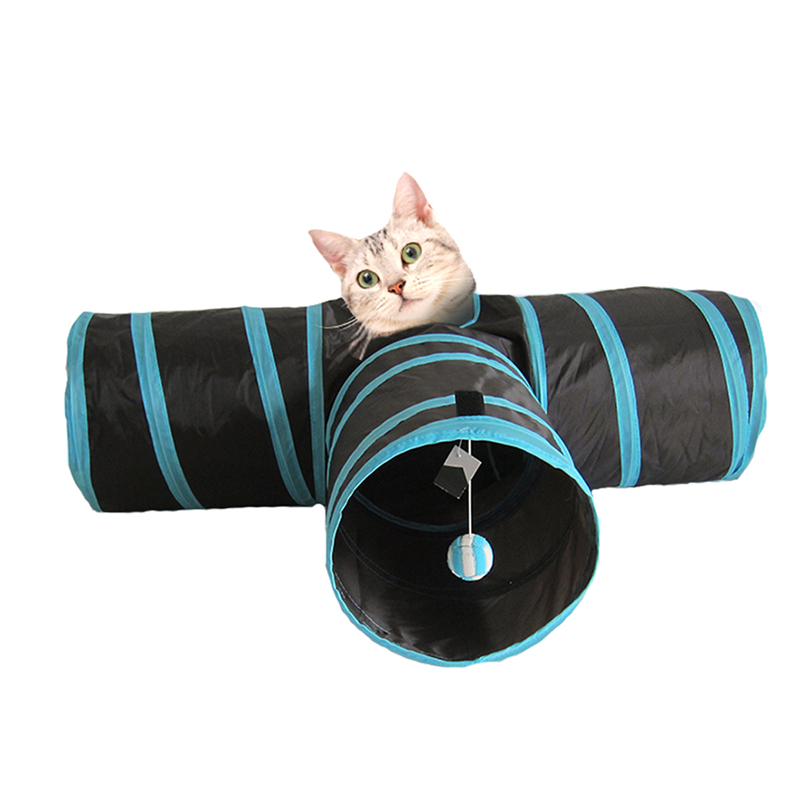T Shape Funny Pet Tunnel Cat Play Tunnel Brown Foldable Holes Cat Tunnel Kitten Cat Toy Bulk Cat Toys Rabbit Play Tunnel