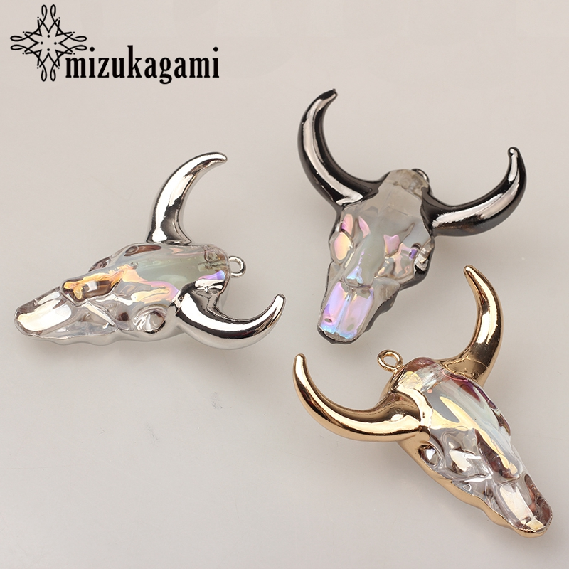 MIZUKAGAMI White Glass 3D Cow Bull Ox Head Skull