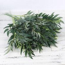 מלאכותי משי ערבה עלים ארוך סניף ירוק צמחים מזויפים אביב חתונה עיצוב הבית הסדר אביזרי פו עלווה