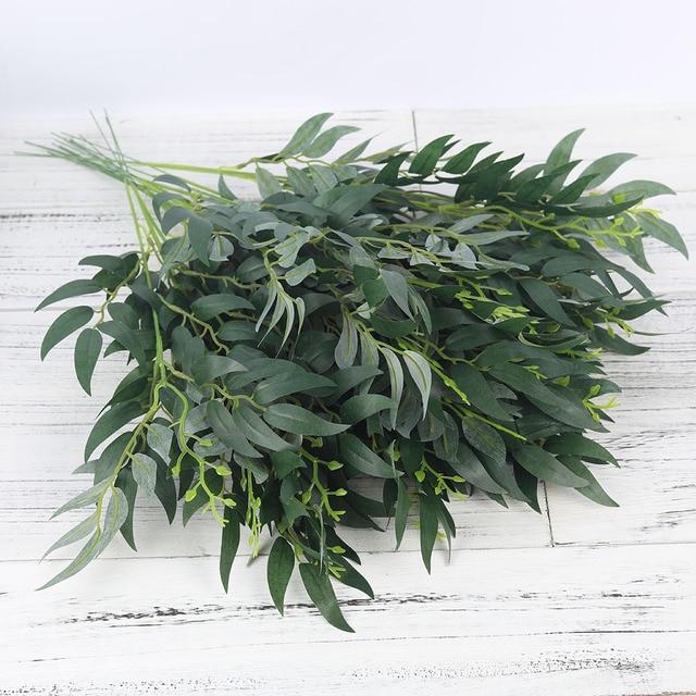 Hojas de Sauce de seda Artificial rama larga plantas falsas verdes primavera boda hogar arreglo de Decoración Accesorios follaje sintético