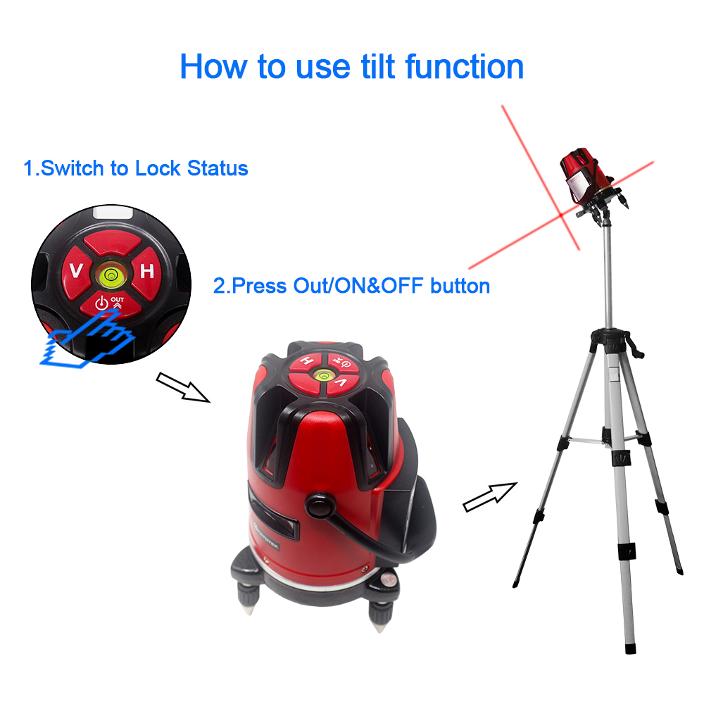Laser Level 5 Lines 6 Points 360 Rotary Self Leveling 532nm Horizontal Vertical