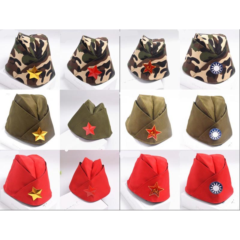 Fashion Army Cap Green Camo Badge Military Hat Women Sailor Military Stage Performance Dance Hats Chinese Boat Captain Caps VL