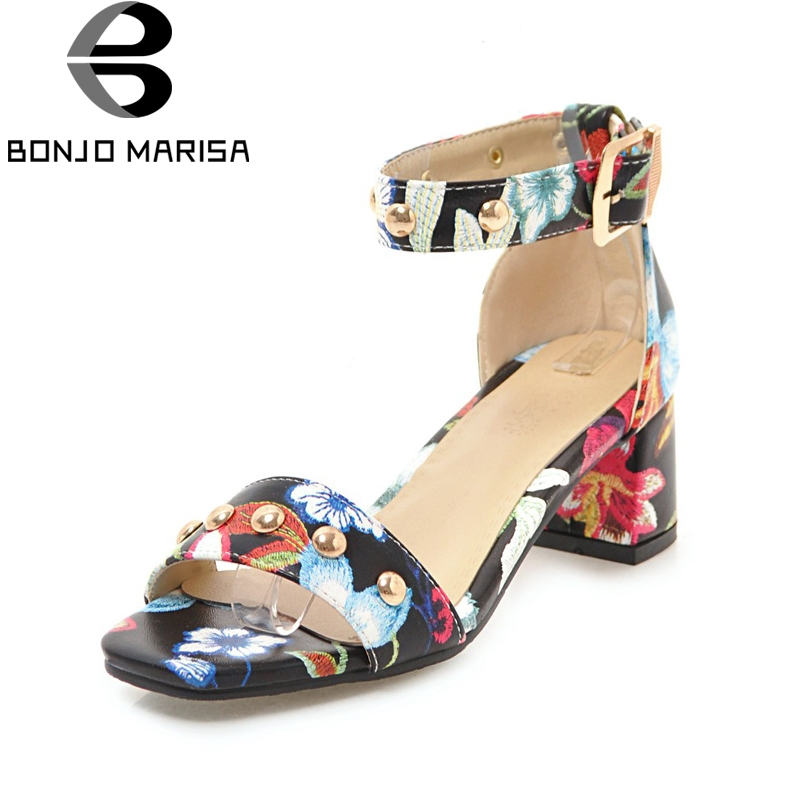 BONJOMARISA Big Size 33-43 Flowers Printing Concise ankle-strap Women Sandals Shoes Fashion Party Sandal Woman bonjomarisa 2018 summer sweet concise women sandals big size 33 43 fashion beading bow shoes woman low chunky heels women shoes