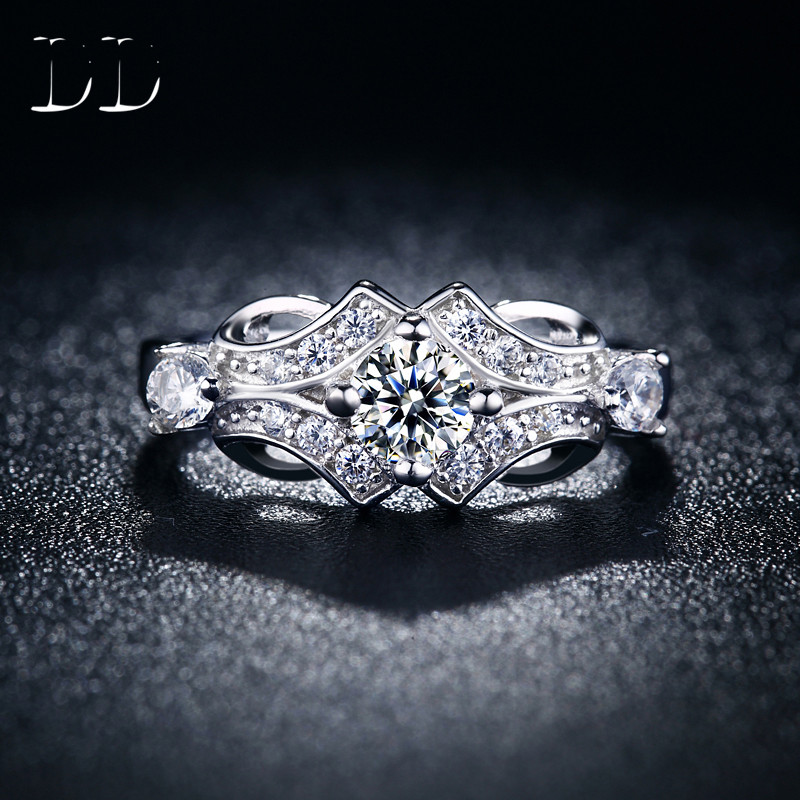 Hot sale CZ diamond jewelry wedding engagement font b rings b font for women Classical white