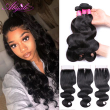 Abijale Body Wave Bundles With Closure Brazilian Hair Weave Bundles With Closure Human Hair Bundles With Closure Non-Remy(China)
