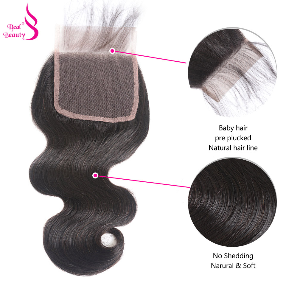 4 Bundles Brazilian Body Wave Hair With Closure Natural Color Non-Remy Real Beauty Human Hair Bundles With Lace Closure