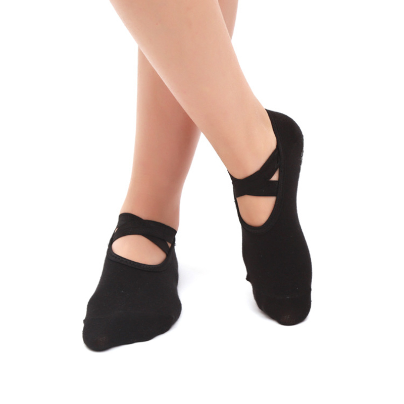 Women Yoga Socks Pilates Ballet Dance Anti Slip Cross Bandage Socks Gym Fitness Sport Cotton Socks Comfortable Non Slip Silicone