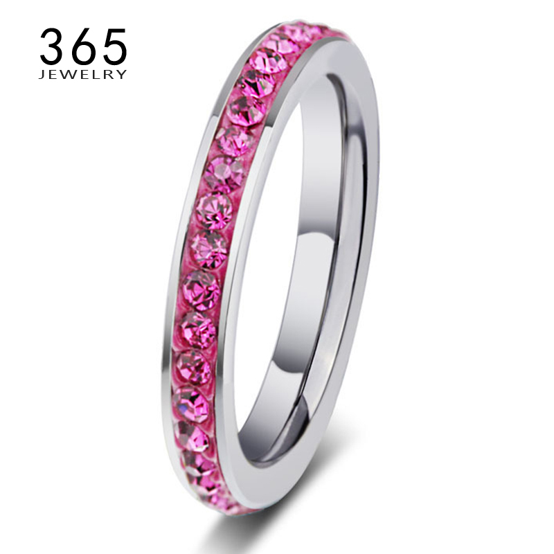 Full Size Jewelry Never Fade Colorful Clear Crystal Stone Ring Rhinestone Stainless Steel Wedding Rings for Women Engagement