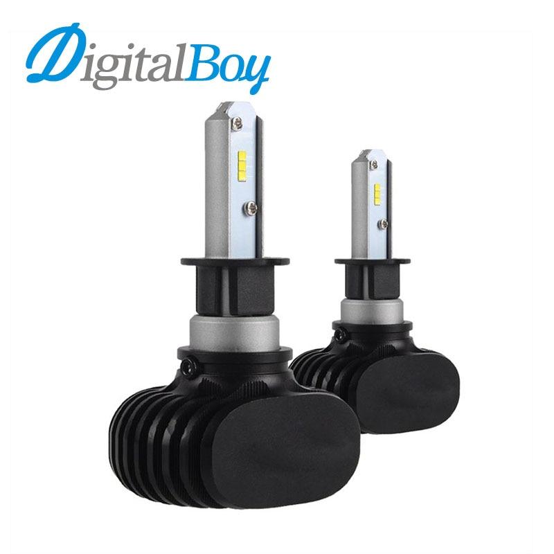 Digitalboy LED Car Headlight H3 Bulbs LED Single Beam Headlamp Car Fog Light 50W 8000lm Auto Car Front LED Lamp Bulb 6000k 12v led light auto headlamp h1 h3 h7 9005 9004 9007 h4 h15 car led headlight bulb 30w high single dual beam white light