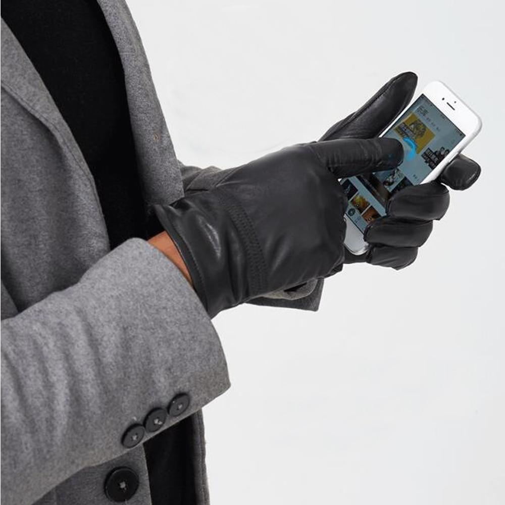 Touch Screen Novelty Full Touch Gloves Men Soft Genuine Leather Gloves Can Screen Touch Gloves Wsr305