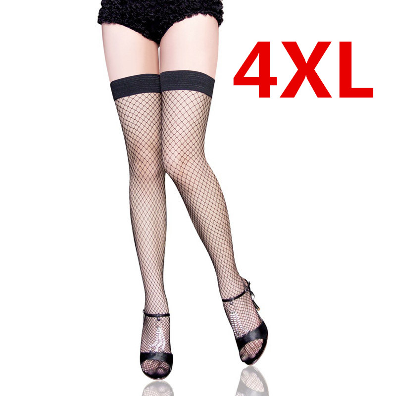 Fashion Hosiery Stockings Plus Size 4XXXXL Women Sexy Sheer Knee High Compression  Socks Big Hole Mesh - Popular Plus Size Compression Socks-Buy Cheap Plus Size