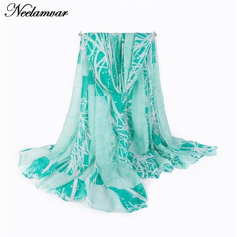 fashion twigs printing scarf bohemia style voile shawl s