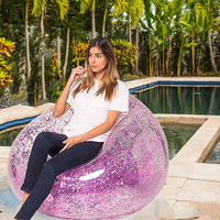 3 Colors Holographic Glitter Inflatable Floating Bed Swimming Lying Chair Air Lounge Mattress Water Sofa Beach Pool Accessories