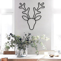 Wrought Iron Deer Head Model Ornaments Nordic Style Wall Hanging Home Decor Figurines 2019 Christmas Decoration