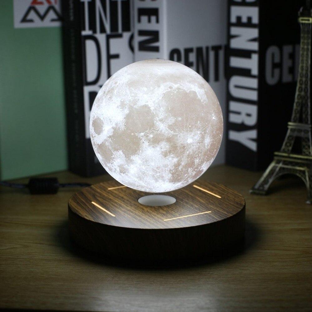 Магнитная левитационная 3D Лунная лампа 360 Вращающаяся деревянная база 10 см ночник плавающий Романтический свет украшение дома для спальни