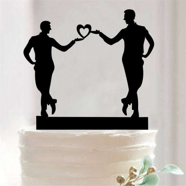 1 Pcs Acrylic Cake Topper With Heart And Two Men Dog Baby Shower Birthday Wedding Decoration Toppers