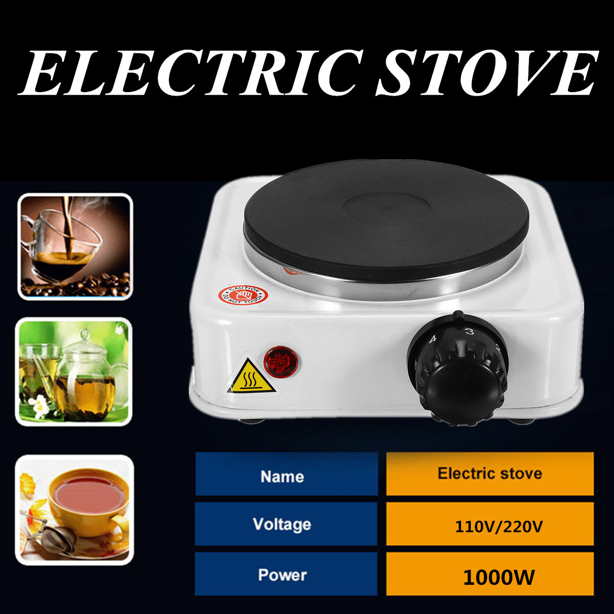 1000W Electric Burner Stove Hot Plate Portable Kitchen Cooker Coffee Pot Heater 110VUS/220V EU Quick Sustained Heat Eco-friendly цена