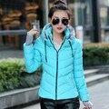 Mulheres Jaqueta Moda inverno Engrossar Outerwear Revestimento Das Mulheres Para Baixo Casacos Curto Design Slim de Algodão-acolchoado Plus Size A196