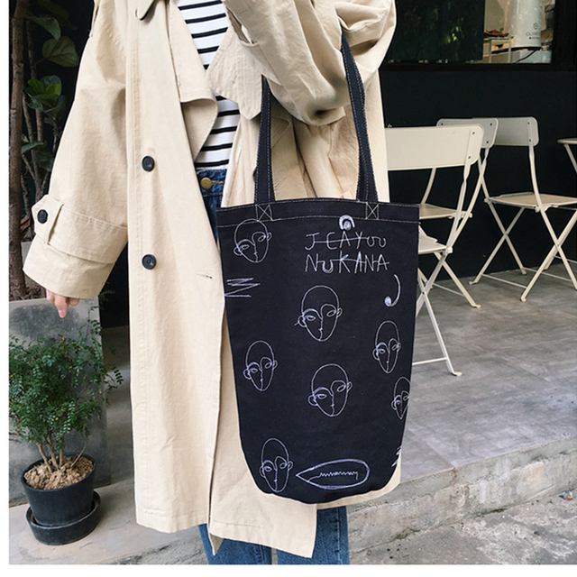 6f386d3fbe1c Raged Sheep Women Handbags Tote Handbags Ladies Big Casual Canvas Shoulder  Bags Personalized Face Embroidery Bucket Beach Bag A3