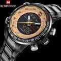 Мужчины спортивные часы NAVIFORCE бренд двойной дисплей часы СВЕТОДИОДНЫЕ цифровые часы из нержавеющей стали кварцевые часы подарочные часы наручные часы