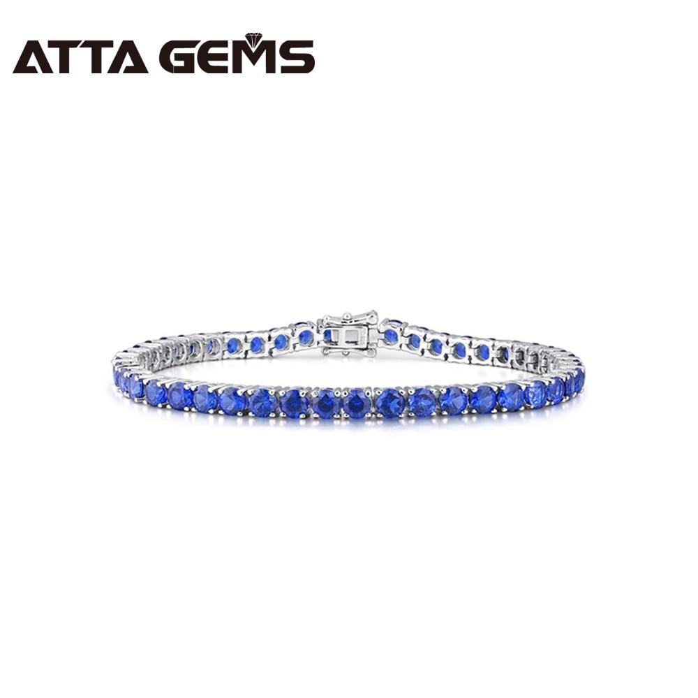 Tanzanite Sterling Silver Bracelet 45 pieces Created Tanzanite Tennis Bracelet Exquisite Women Silver Bracelet Gifts