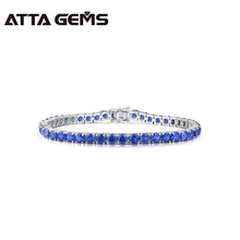 Tanzanite sterling silver bracelet, 45 pieces of round 4mm, exquisite women silver bracelet, the best gift for Christmas