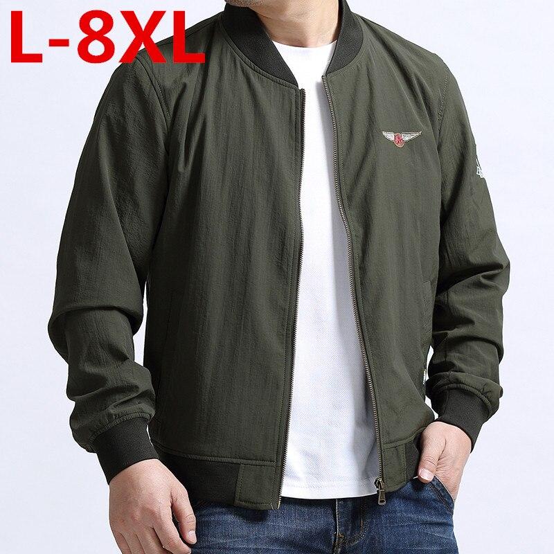 Grande taille 8XL 7XL 6XL 5XL 4XL printemps veste hommes imperméable automne mince décontracté hommes vestes de mode de haute qualité