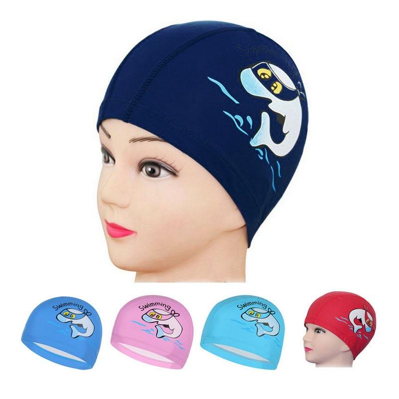 Children/'s Dolphin Animal PU Fabric Waterproof Swim Swimming Cap Ears Protector