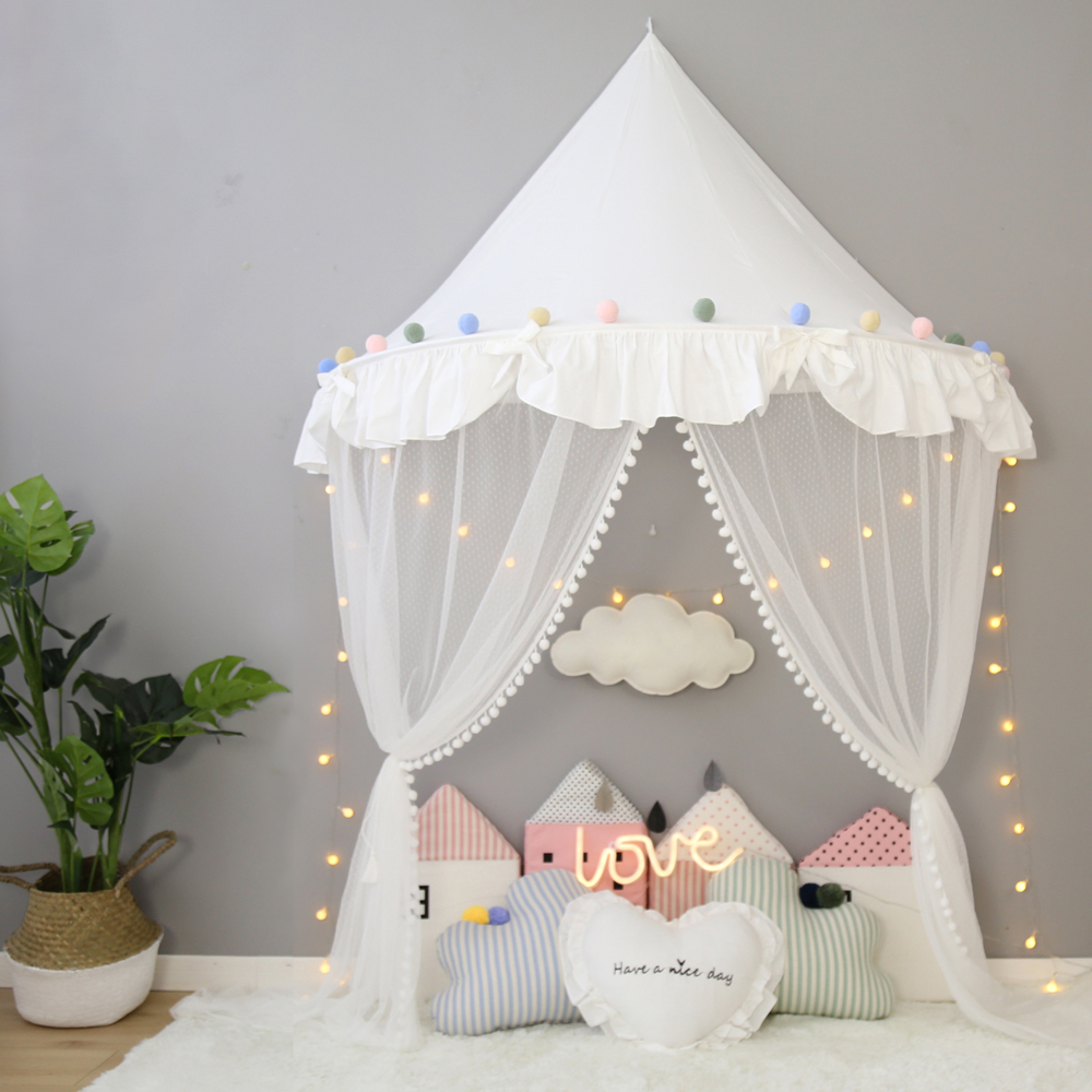 Hanging Play Tent Reading Corner Kids Bed Canopy w// Mosquito Net//Cloth Curtain