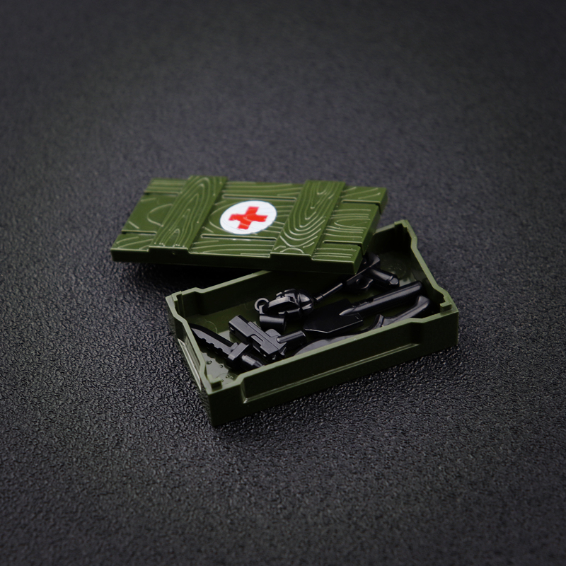 Военное оружие коробка с боеприпасами кессона строительные блоки WW2 армии военные принадлежности Детские игрушки Совместимость Legoed кубики...
