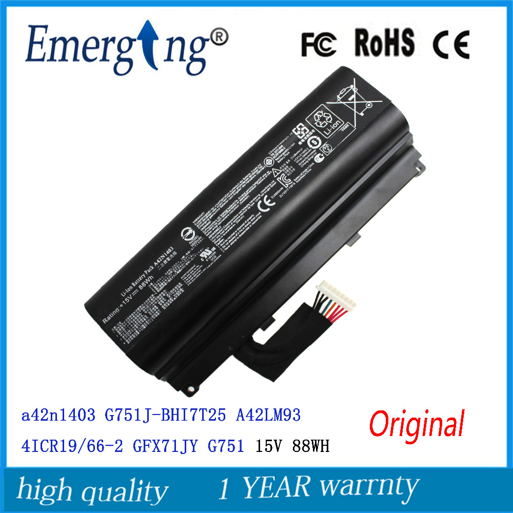 15V 88WH Original New Laptop Battery for ASUS a42n1403 G751J-BHI7T25 A42LM93 4ICR19/66-2 GFX71JY G751 14 4v 3000mah us55 4s3000 s1l5 40046152 4icr19 66 original battery for medion akoya md98736 s6212t md99270 s6615t s621xt s6211t
