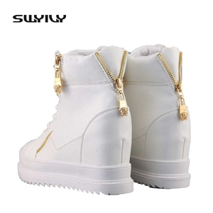 Image 3 - SWYIVY Women Sneaker White High Top Canvas Shoes Wedge Platform Sneakers Women Winter/summer Sneakers Wedge Shoes For Woman